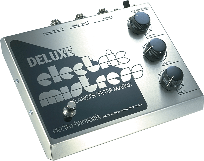 Electro Harmonix Electric Mistress flanger filter guitar pedal signal chain.